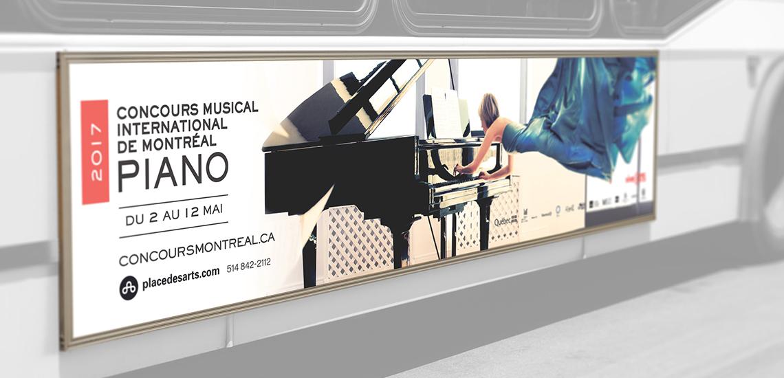 Affichage d'autobus de l'édition Piano 2017 du CMIM