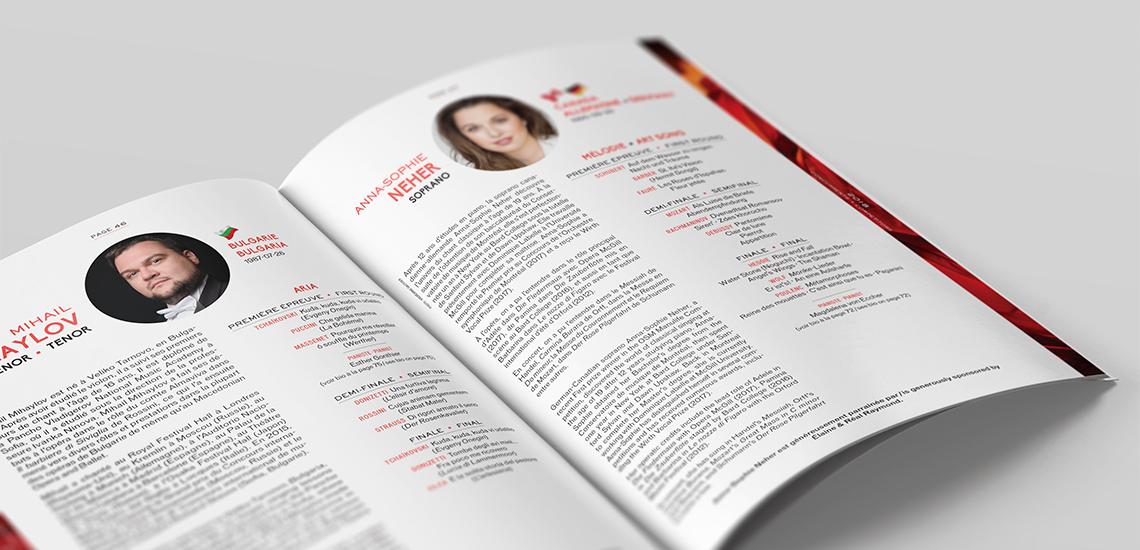 Pages intérieures du programme officiel de l'édition Chant 2018 du CMIM