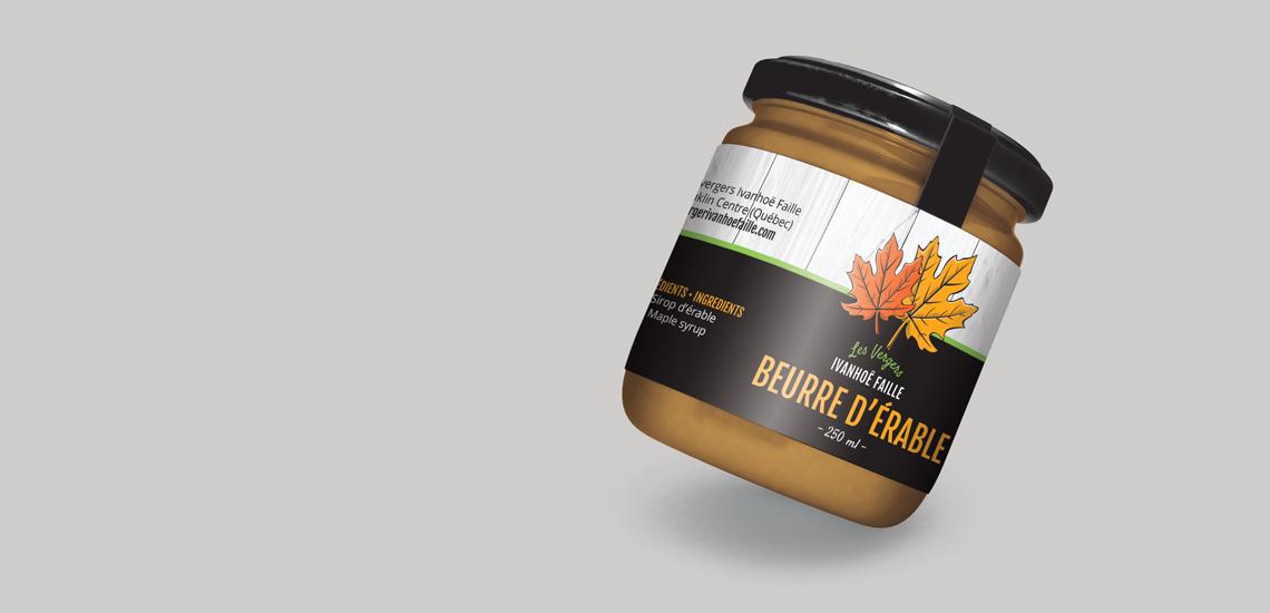 tiquette pour pot de beurre d'érable des Vergers Ivanhoë Faille