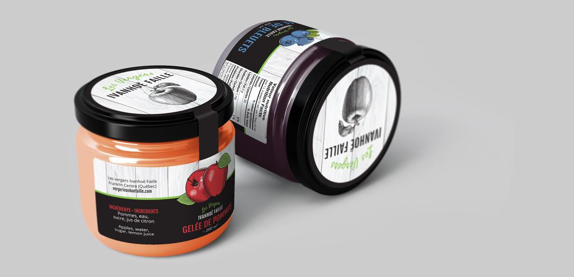 Étiquettes pour pots de gelée de pommes et gelée de bleuets des Vergers Ivanhoë Faille