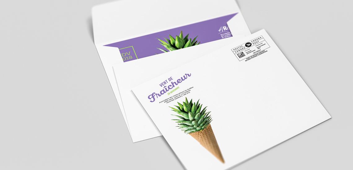 Enveloppe de publipostage du RDV 2018 organisé par l'Association restauration Québec (ARQ)