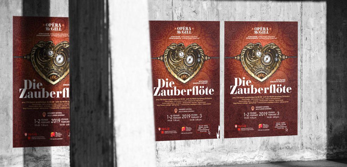 Affiches de l'opéra Die Zauberflöte présenté par Opéra McGill de l'École de musique Schulich