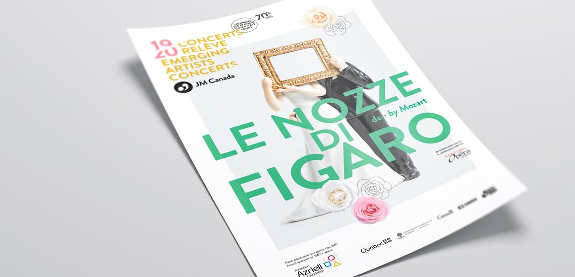 Affiche de l'opéra Le Nozze di Figaro présenté dans le cadre des Concerts relève 2019-2020 des JM Canada