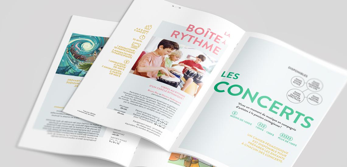 Pages intérieures des brochures des Concerts jeune public 2019-2020 et des Concerts à la Salle Joseph-Rouleau de la Maison André-Bourbeau, présentés par les JM Canada