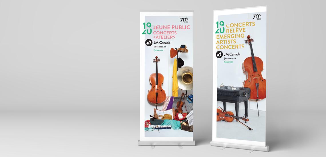 Bannières autoportantes des Concerts relève 2019-2020 et des Concerts Jeune public 2019-2020 présentés par les JM Canada
