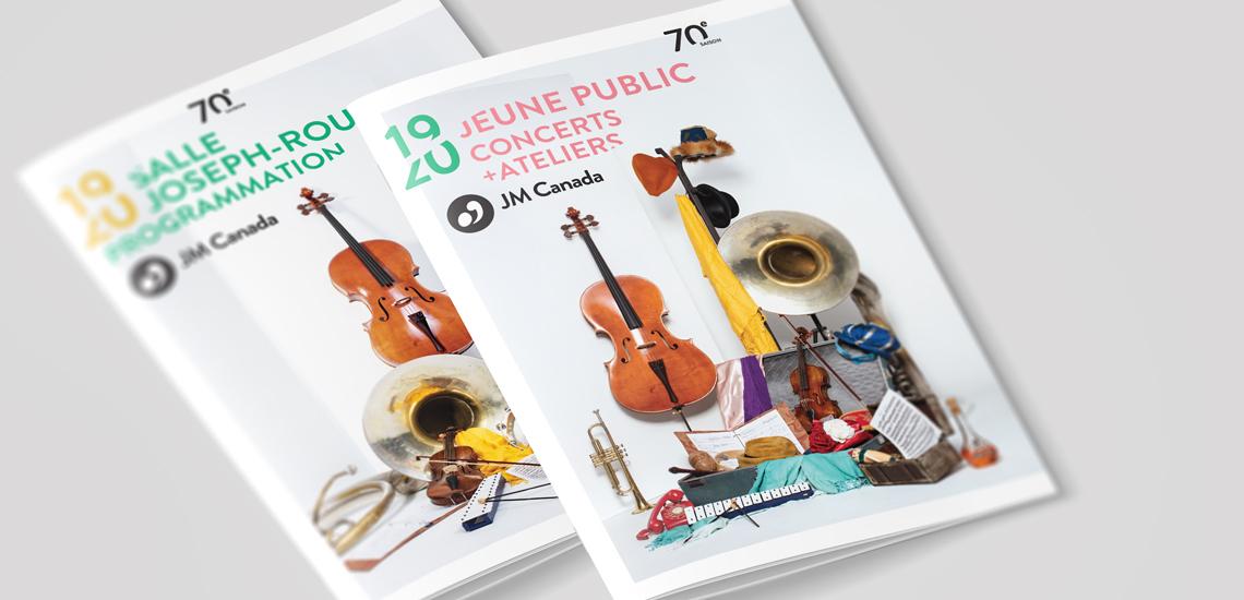 Couvertures des brochures des Concerts jeune public 2019-2020 et des Concerts à la Salle Joseph-Rouleau de la Maison André-Bourbeau, présentés par les JM Canada