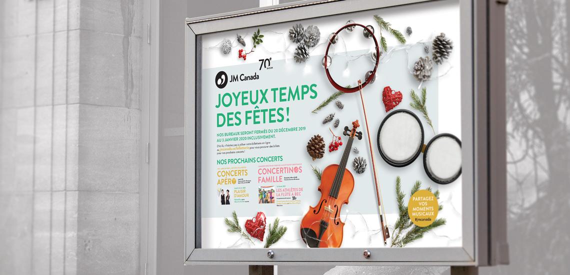 Affiche du présentoir extérieur devant la Maison André-Bourbeau des JM Canada