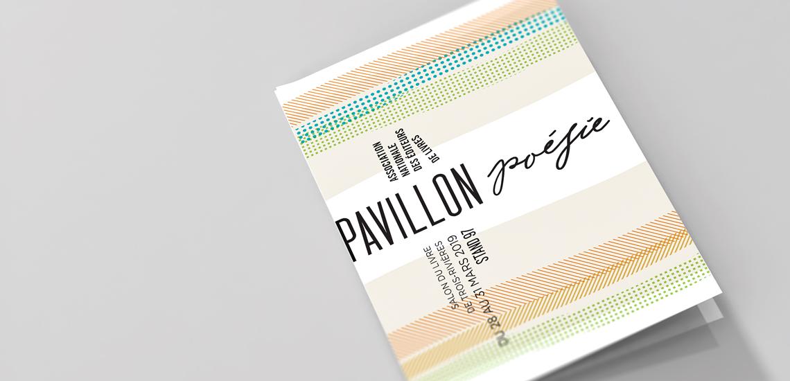 Couverture du dépliant d'un Pavillon de la poésie organisé par l'Association nationale des éditeurs de livres (ANEL)