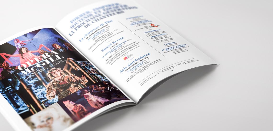 Pages intérieures de la brochure de saison 2019-2020 de l'École de musique Schulich / Inside pages of the 2019-2020 season's brochure of the Schulich School of music