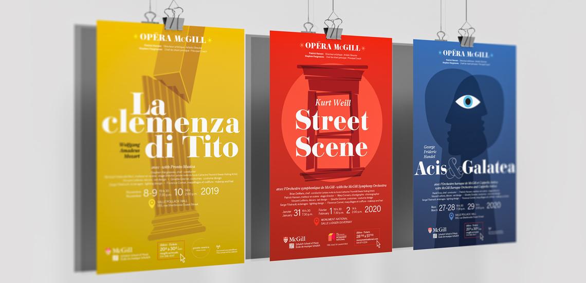 Affiches des trois opéras 2019-2020 présentés par l'École de musique Schulich / Posters of the three 2019-2020 operas presented by the Schulich School of music
