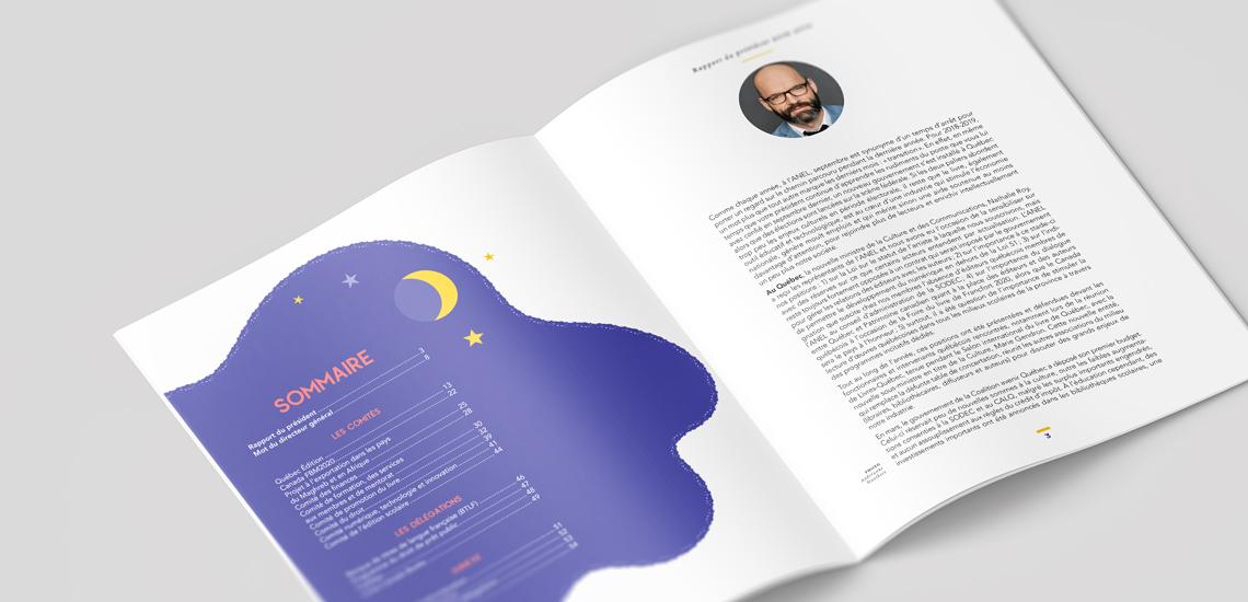 Pages intérieures du rapport annuel 2018-2019 de l'Association nationale des éditeurs de livres (ANEL)