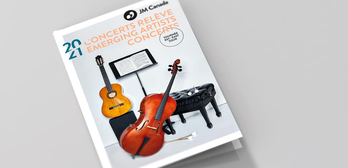 Couverture du dépliant des Concerts relève 2020-2021 présentés par les JM Canada