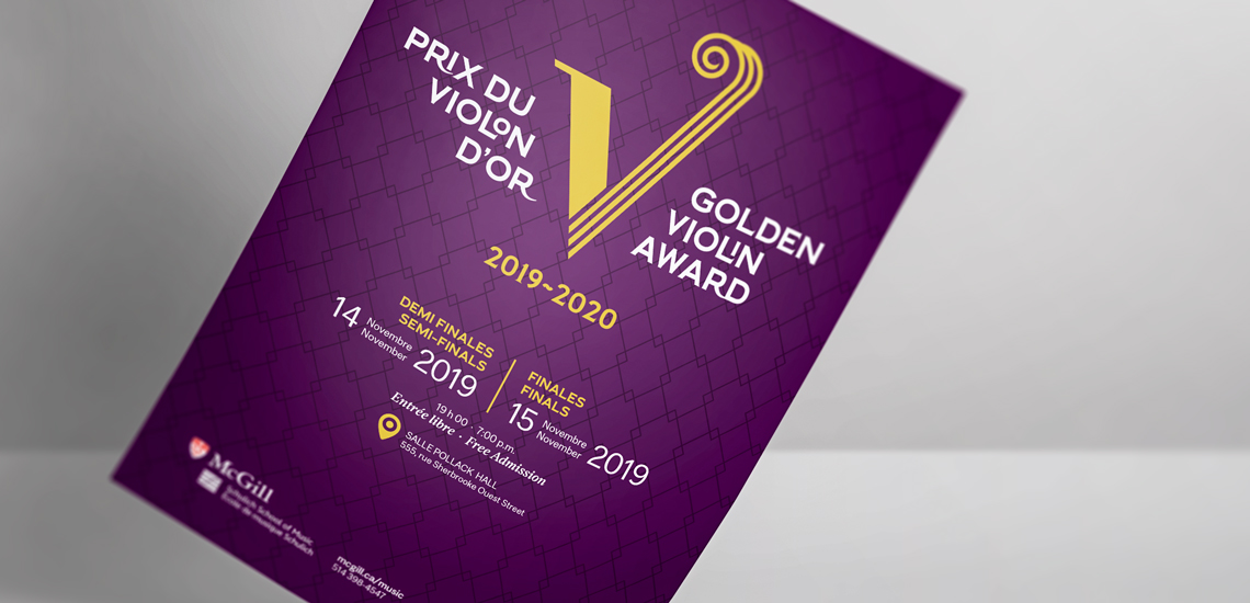 Affiche du Prix du violon d'or présenté par l'École de musique Schulich / Poster of the Golden violin award prize presented by the Schulich School of music