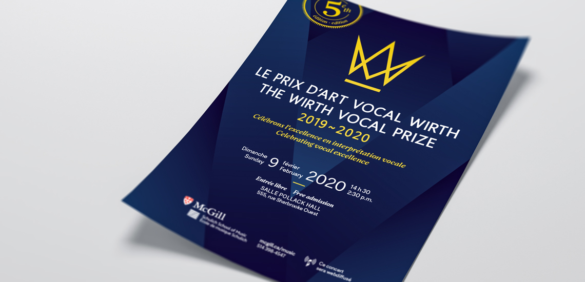 Affiche du Prix d'art vocal Wirth présenté par l'École de musique Schulich / Poster of the Wirth vocal prize presented by the Schulich School of music